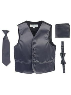 Charcoal Vest Necktie Bowtie Pocket Square Boys Set 8-14