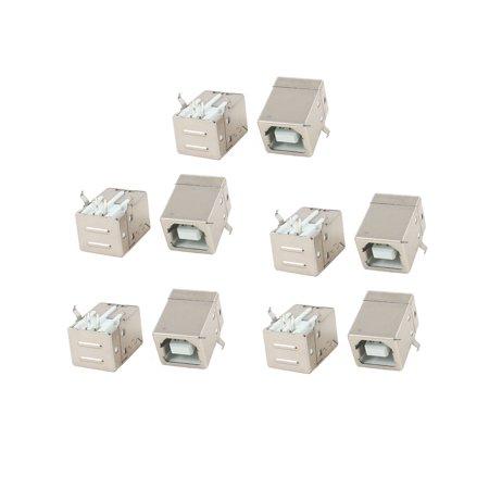 Unique Bargains 10pcs Single Port Right Angle 4 Pin Plug USB B Female Jack