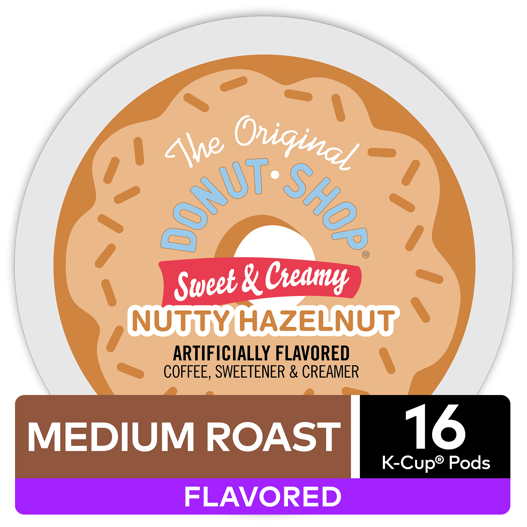 The Original Donut Shop Sweet & Creamy Nutty Hazelnut, Flavored Coffee Keurig K-Cup Pod, Medium Roast, 16 Ct