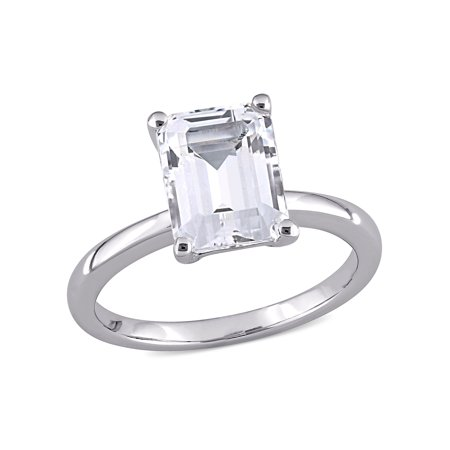3-3/4 Carat T.G.W. Created White Sapphire 10k White Gold Solitaire Ring 10k Gold Solitaire Ring