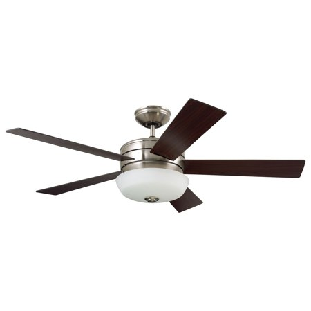 Emerson Cronley 54 Inch Ceiling Fan with Light Fixture and Remote, Brushed Steel