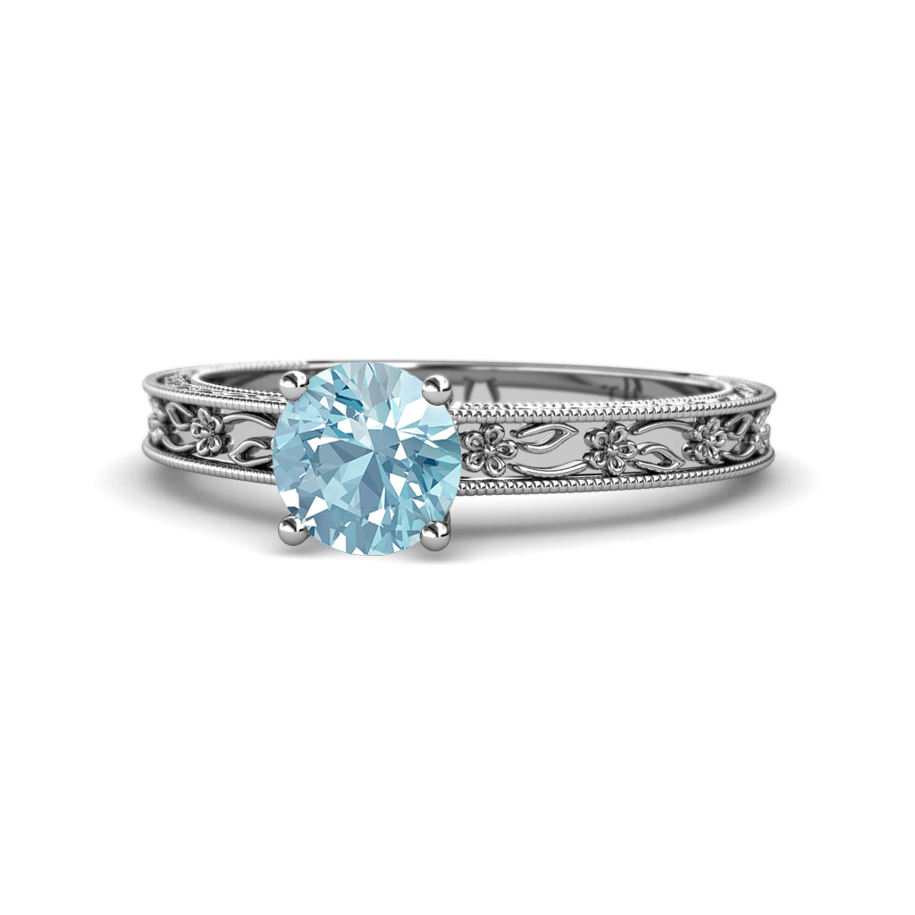 Aquamarine Floral Engraved Solitaire Engagement Ring with Milgrain Work 0.87 ct in 14K White Gold.size 5.5