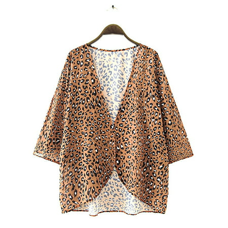 Summer Womens Floral Print Kimono Cardigan Loose Puff Sleeve Cover Up Casual Leopard Blouse Tops Kaftan Outerwear