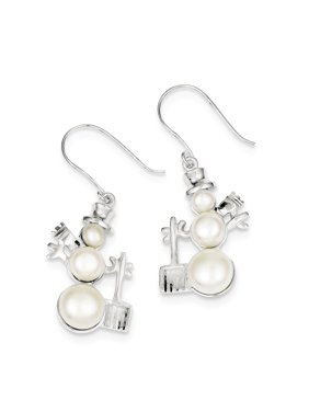 Sterling Silver FW Cultured Pearl Snowman Earrings grams (L 40mm W 22mm)Polished | Sterling silver | Freshwater cultured pearl | Shepherd hook | Dangle | Rhodium-plated