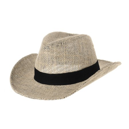 28da48b68 WITHMOONS Western Cowboy Hat Paper Straw Linen Fedora Panama Hat DW8659  (Black)