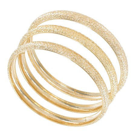 Set of 3 Gold Tone Metal Thin Bangle Bracelets Textured Sparkle Design Regular - Gold Bangle