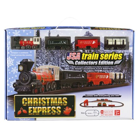 LEC Christmas Express Steam Locomotive American 4-4-0 Battery Operated Train - Train Around Christmas Tree
