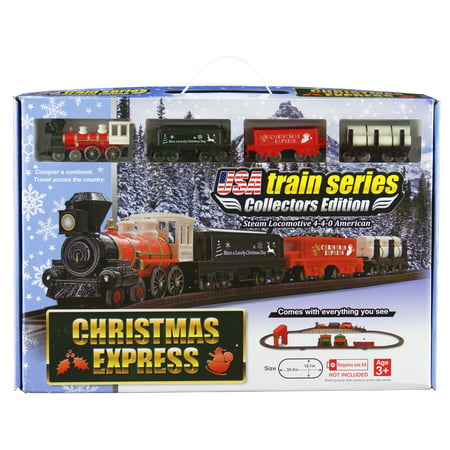 LEC Christmas Express Steam Locomotive American 4-4-0 Battery Operated Train Set - Christmas Tree Train Set