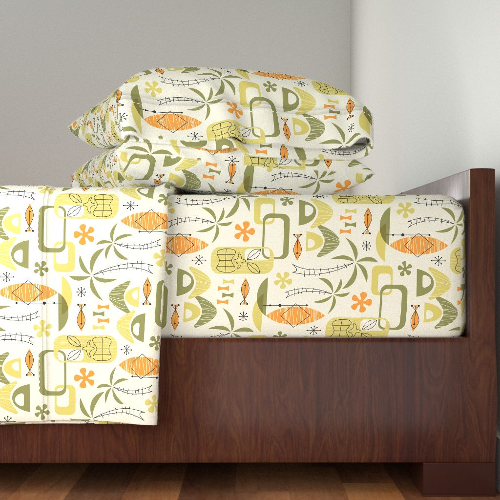 Hawaii Village Palm Atomic Mid-Century 100% Cotton Sateen Sheet Set by Roostery
