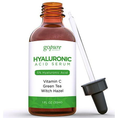 goPURE Hyaluronique Sérum acide avec 5% Professionnel Niveau de l'acide hyaluronique, vitamine C, thé vert et vitamine E
