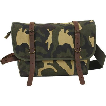 (Price/EA)Rothco 9614 Vintage Canvas Explorer Shoulder Bag w/ Leather Accents-Woodland Camo Camouflage Canvas Shoulder Bag