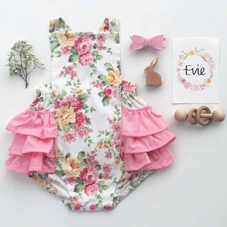 New Newborn Infant Baby Girl Floral Romper Bodysuit Sunsuit Flower Beach Clothes