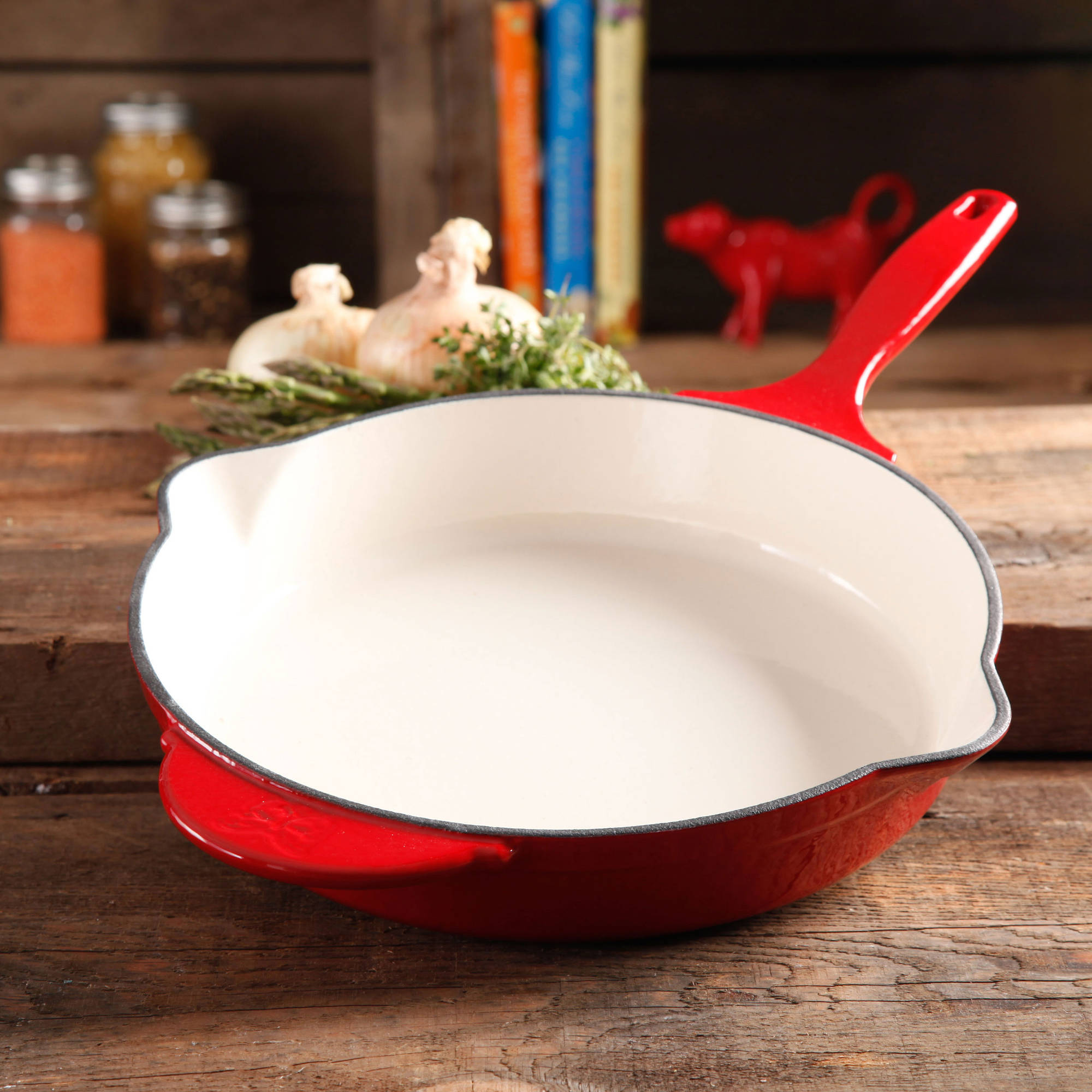 """The Pioneer Woman Timeless Cast Iron, 12"""" Cast Iron Enamel Skillet"""