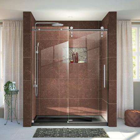 DreamLine Enigma Z 56 60 in W x 76 in H Fully Frameless Sliding Shower Door in Brushed Stainless Steel