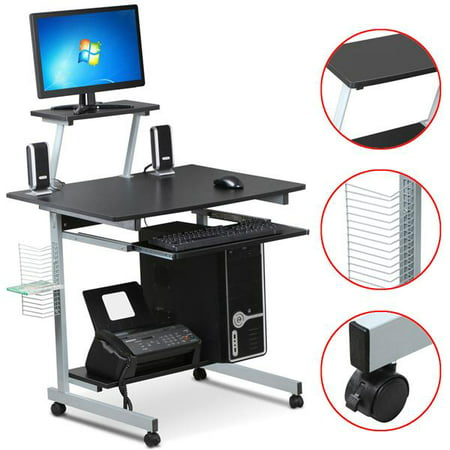 Mobile Computer Desks with Keyboard Tray, Printer Shelf and Monitor Stand Small Space Home Office Furniture (Black) ()