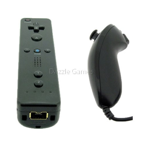 Black Wireless Remote Wiimote & Nunchuck Controller Combo Set w/ Strap for Nintendo Wii/Wii U/Wii mini Game