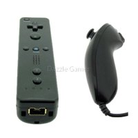 Black Wireless Remote Wiimote & Nunchuck Controller Combo Set w/ Strap for Nintendo Wii/Wii U/Wii mini Game