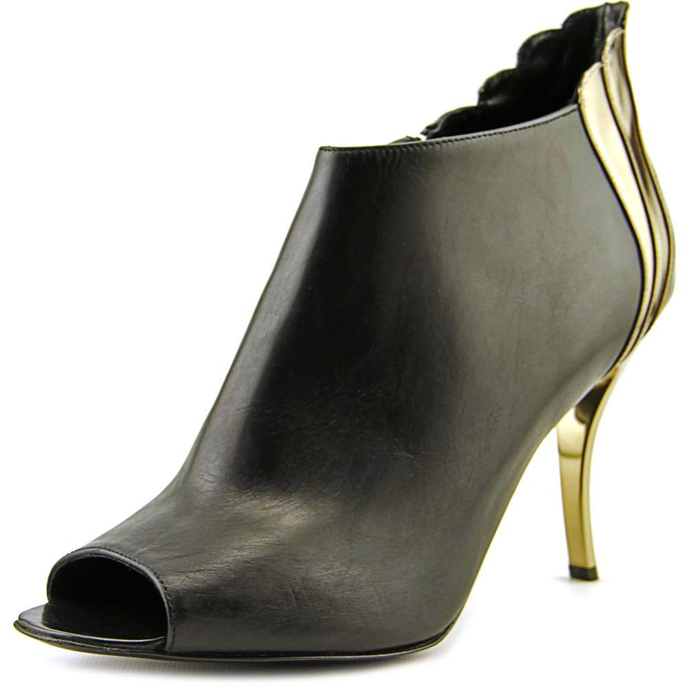 Delman Aviva Women  Peep-Toe Leather Black Bootie