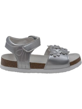 6186ff6b583 Product Image L Amour Girls Silver Flower Accent Strap Cork Sandals 11-4  Kids