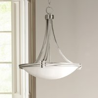 "Possini Euro Design Brushed Nickel Pendant Light  21 1/2"" Wide Art Deco Marbleized Glass Fixture For Kitchen Dining Room Lighting"