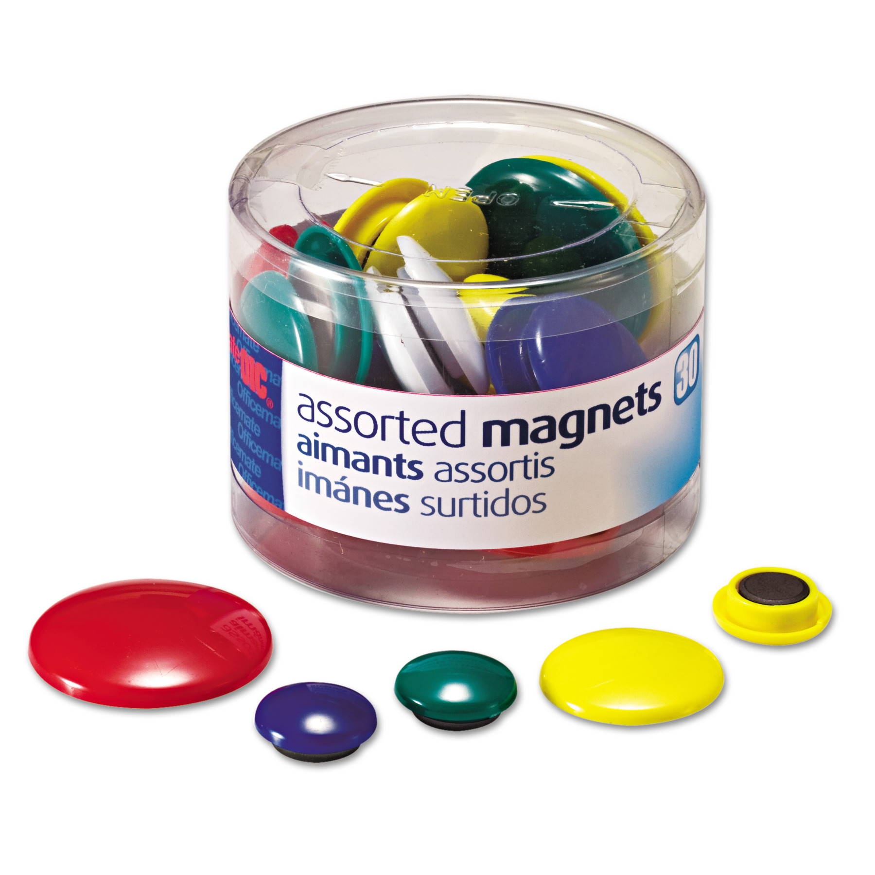 Officemate Assorted Magnets, Circles, Assorted Sizes & Colors, 30-Count