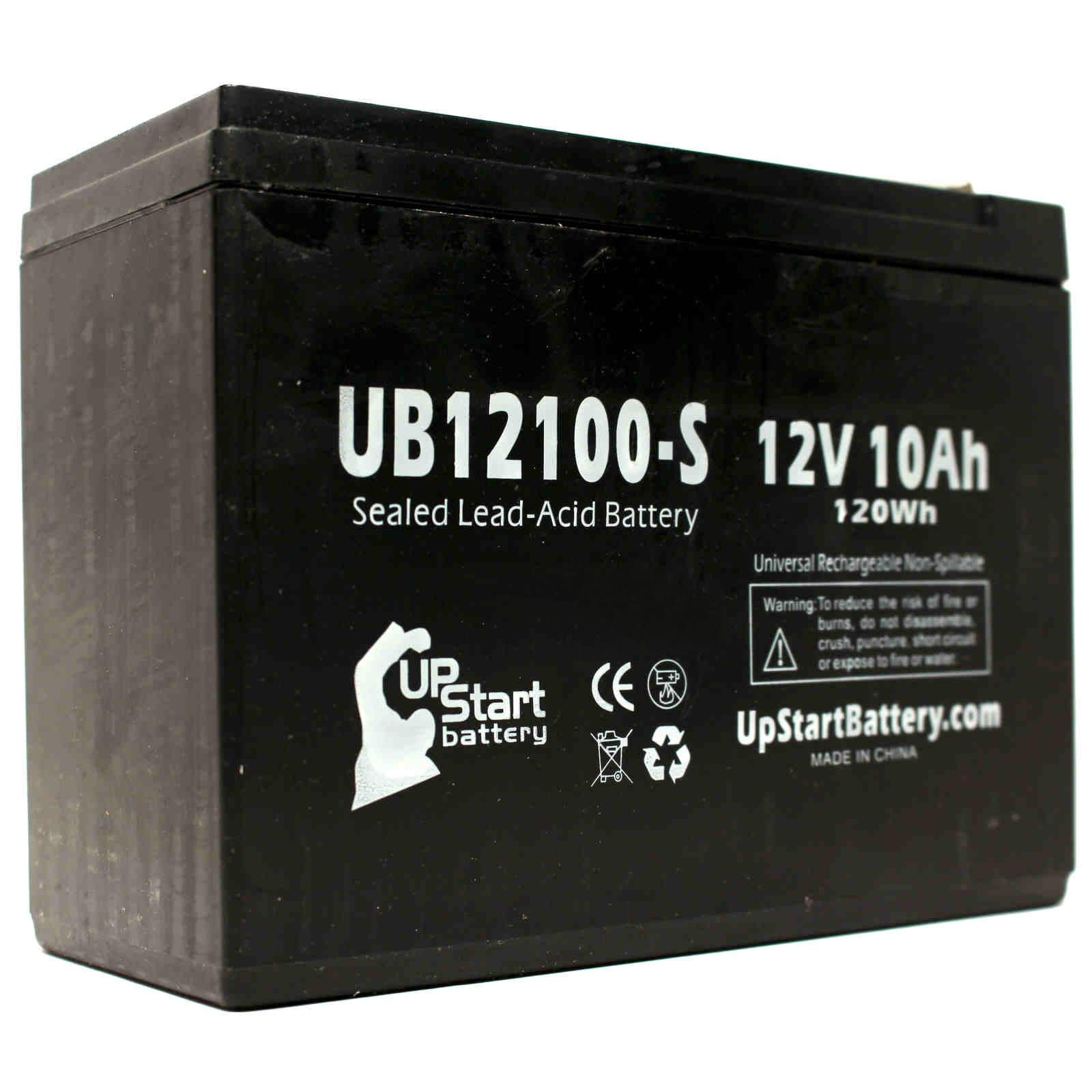5-Pack UB12100-S Universal Sealed Lead Acid Battery (12V, 10Ah, F2 Terminal, AGM, SLA) Replacement - Compatible With Schwinn S500, S350, Missile FS, S180, S750, S600, Razor Rebellion Chopper - image 3 of 4