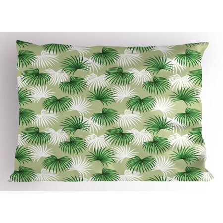 Leaf Pillow Sham Tropical Leaf of Palm Tree Livistona Rotundifolia Island Jungle Foliage, Decorative Standard King Size Printed Pillowcase, 36 X 20 Inches, Green Pale Green White, by (Island Standard Sham)