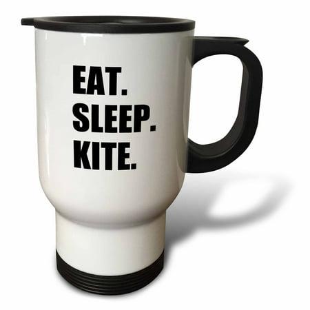 3dRose Eat Sleep Kite - Kitesurfing kiteboarding kitesurfer kiteboarder surf, Travel Mug, 14oz, Stainless Steel