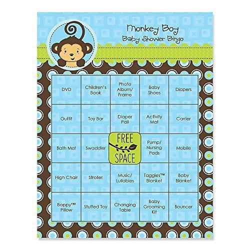Monkey Boy - Baby Shower Game Bingo Cards - 16 Count