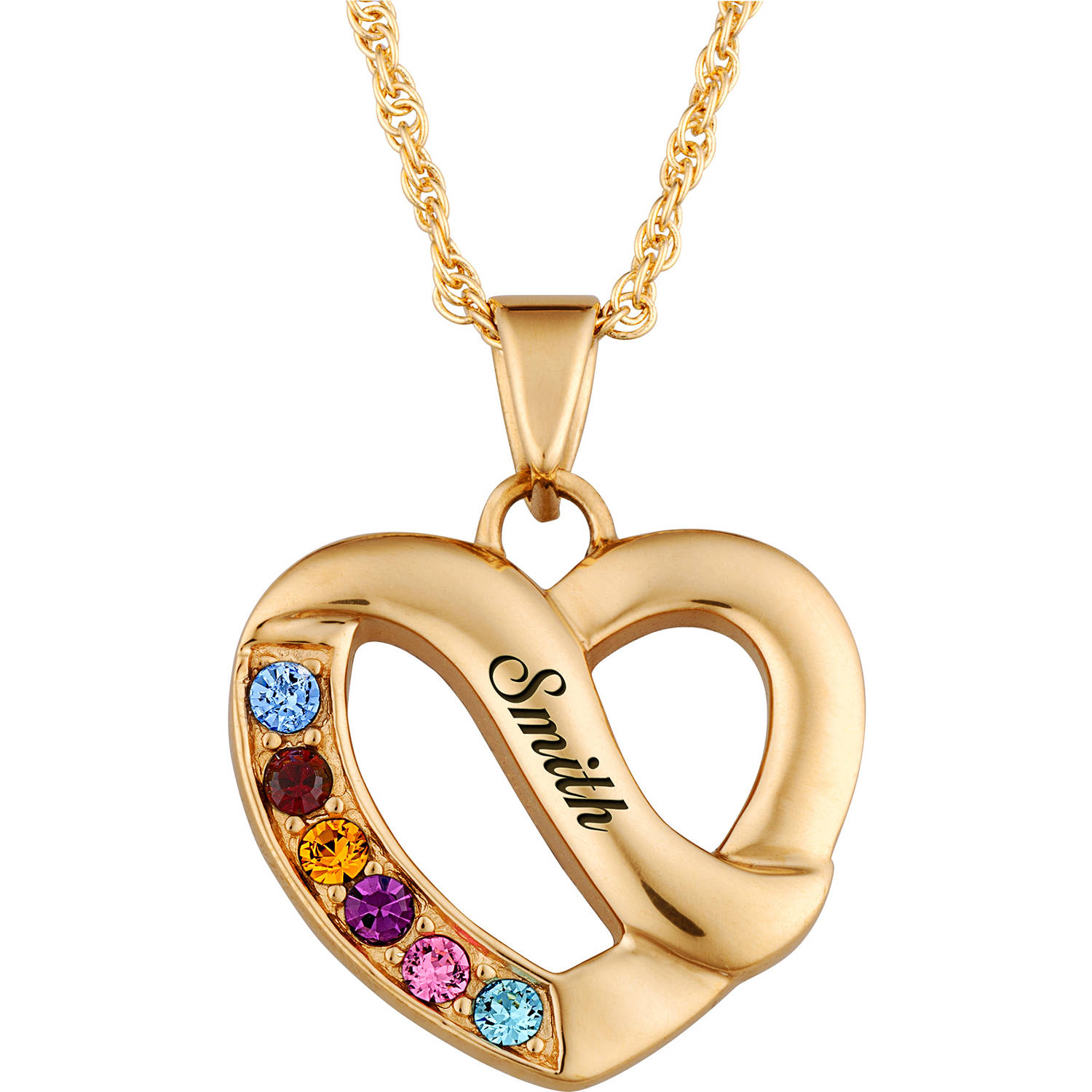 Personalized 14kt Gold-Plated Family Name & Birthstone Heart Necklace