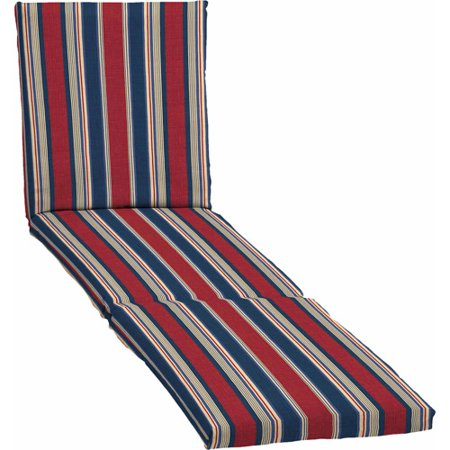 Mainstays outdoor chaise cushion red white blue stripe for Blue and white striped chaise lounge cushions
