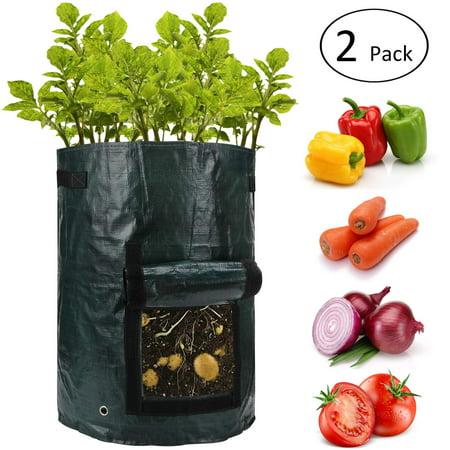 10 Gallon Potato Grow Bags with Flap and Handles - Aeration Tomato Fabric Plant Pots - Garden Bag Planter Pots - Vegetable Growing Bags Outdoor (2 pcs)