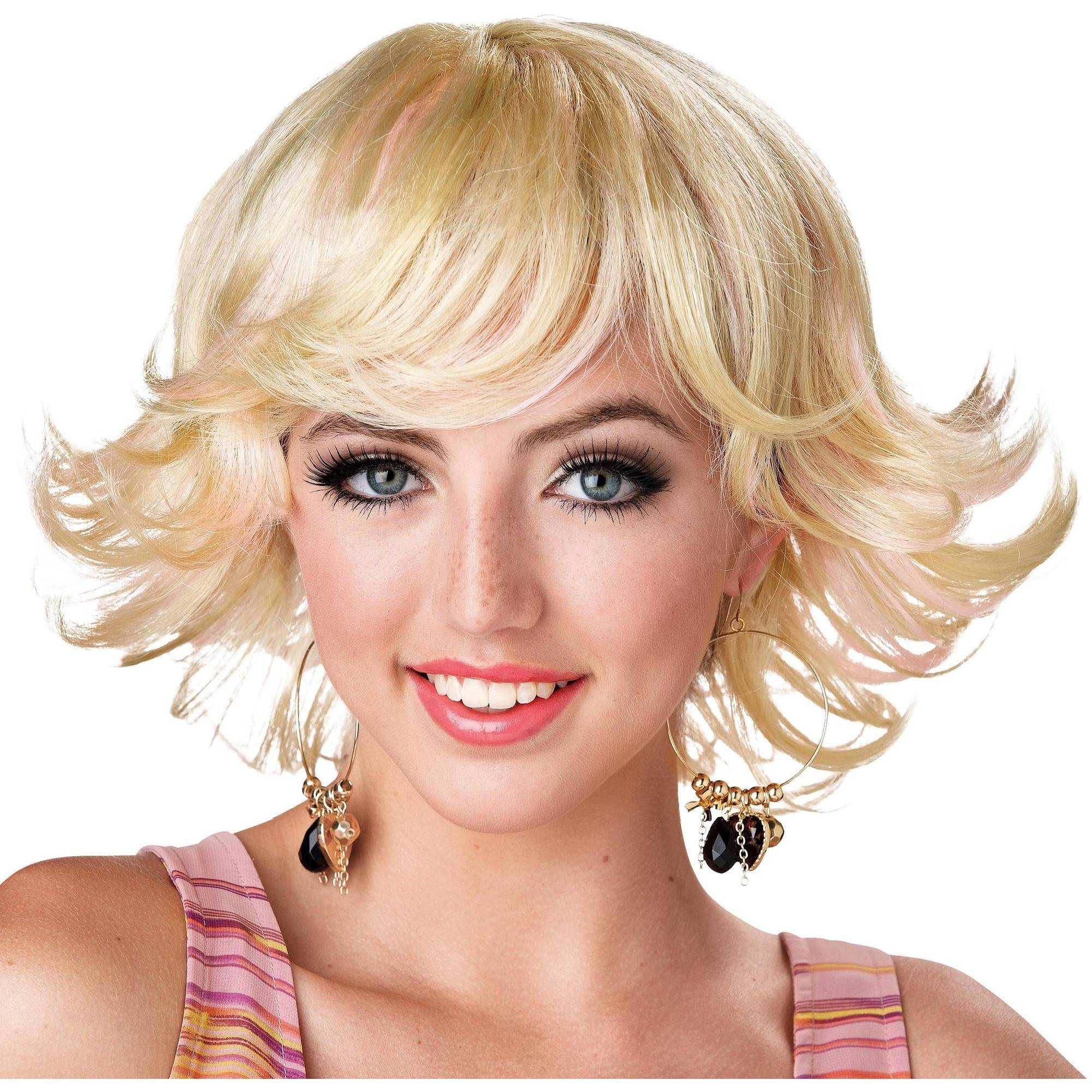 Flipped Out Feathered '70s Blonde Wig Halloween Costume Accessory