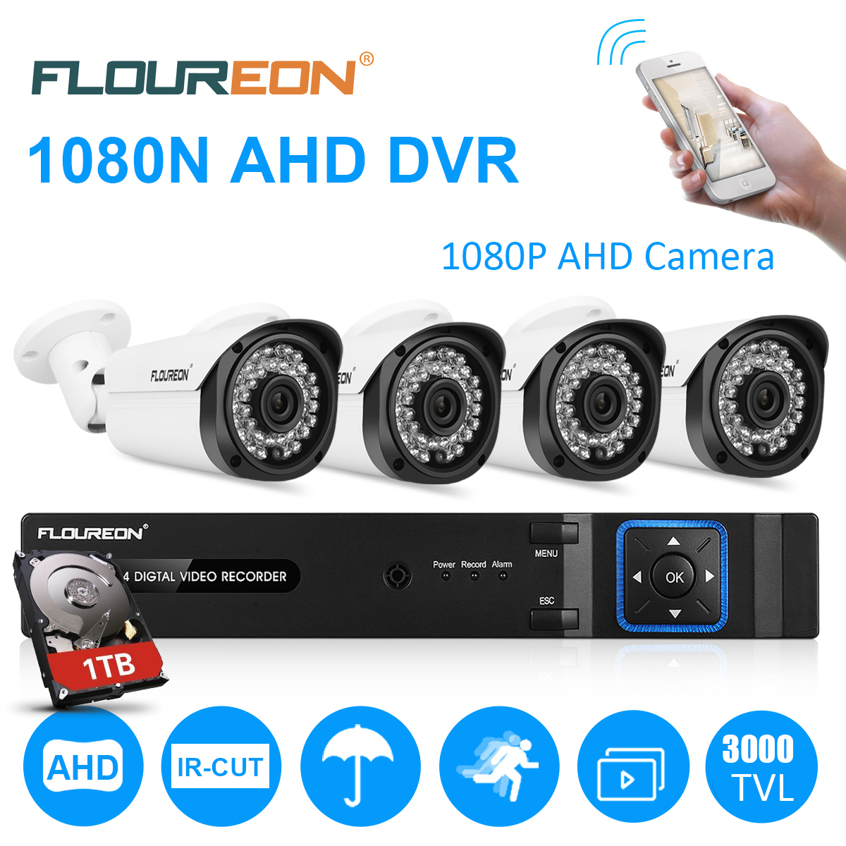 FLOUREON 8CH Security Camera System HD-TVI 1080N Video DVR Recorder with 4X HD 3000TVL 1080P Indoor Outdoor Weatherproof CCTV Cameras 1TB Hard Drive,Motion Alert, Smartphone, PC Easy Remote Access