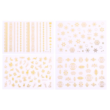 Easy At Home Halloween Nail Designs (BMC Holiday Glow Gold Metallic Foil Nail Art Stickers - Perfect Stocking Stuffer for Quick & Easy Manicures, Pedicures - Snowflakes, Ribbons and Lace Christmas Inspired Designs - Set of)