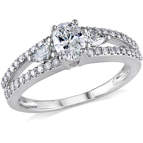 Miabella 1 Carat T.W. Multi-Shape Diamond 14kt White Gold Engagement Ring, IGL Certified