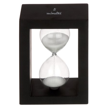 5 MINUTE BLACK and WHITE HOURGLASS with WOOD FRAME - Unity Hourglass