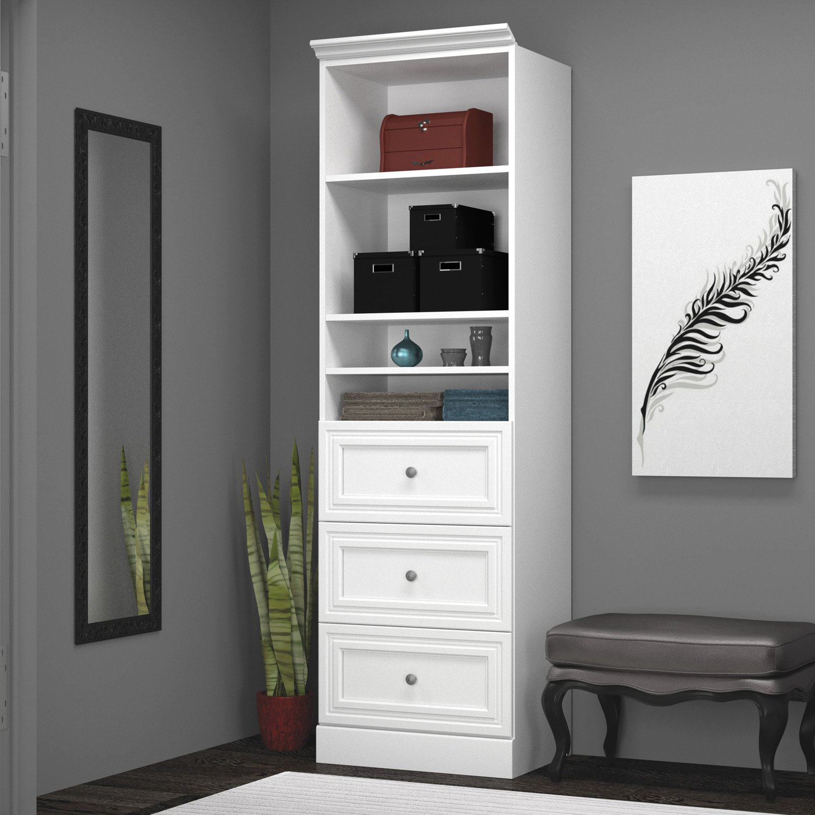 Versatile by Bestar 25'' Storage Unit with 3-Drawer set Unit in White