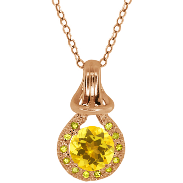 1.42 Ct Yellow Citrine Yellow Sapphire Rose Gold Plated Sterling Silver Pendant