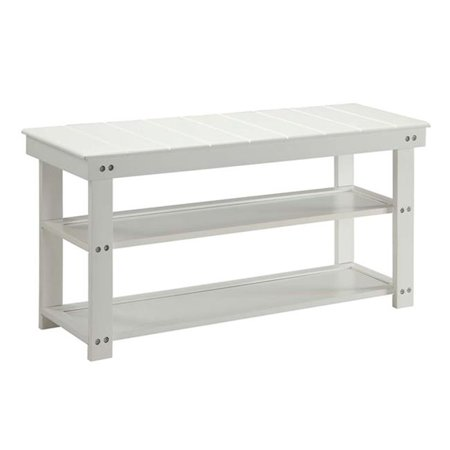 Mudroom Bench - Utility Mudroom Bench, White - 35 x 17 x 11.87 in.