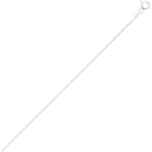 """1mm Sterling Silver Diagonal-Box-Cut Italian Chain Necklace, Available in 16"""", 18"""", 20"""", 24"""", and 30"""" Lengths"""