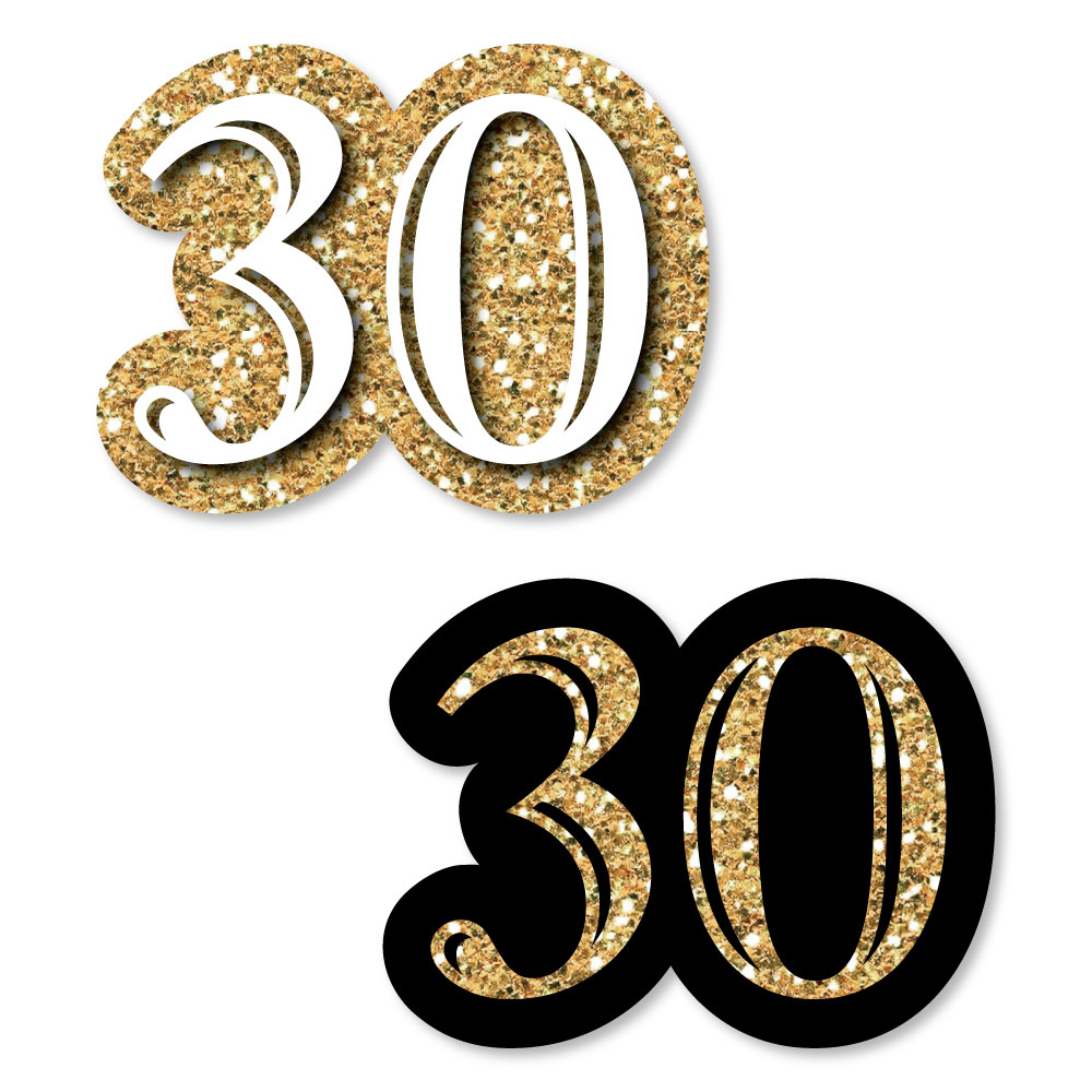 Adult 30th Birthday - Gold - DIY Shaped Birthday Party Cut-Outs - 24 Count
