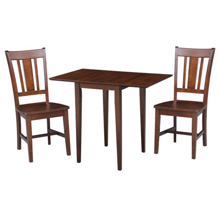 Small Dual Drop Leaf Table with 2 San Remo Chairs in Espresso - 3 Piece Set ()