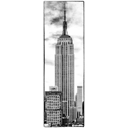 Vertical Panoramic, Black and White Photography, Empire State Building, Manhattan, New York -Us Print Wall Art By Philippe Hugonnard