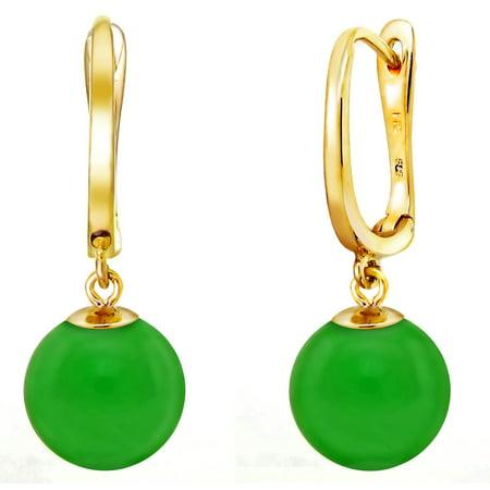ADDURN 14K Yellow Gold 8mm Round Green Jade Dangle Earrings - Green Jade White Pearl