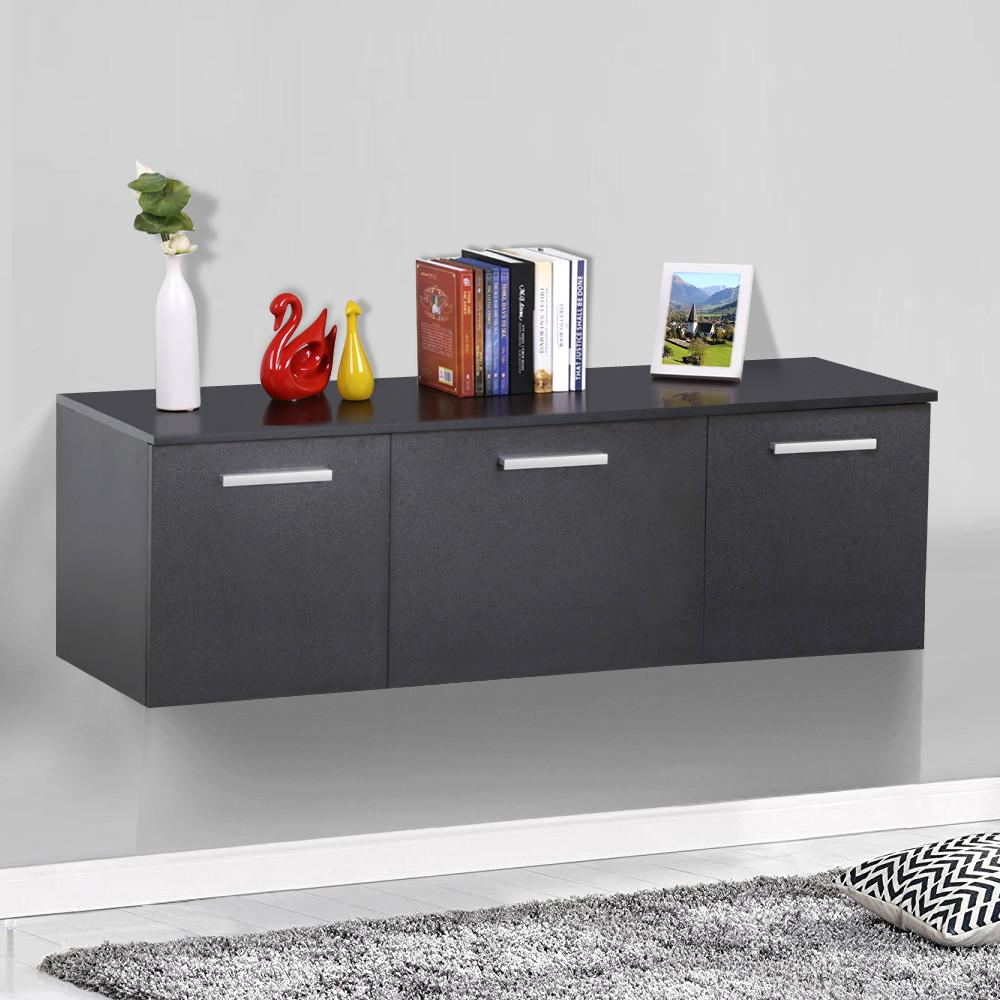 Yaheetech Wall Mount Floating Media Storage Cabinet Hanging Desk Hutch 3 Door Home Office Furniture ( Black )