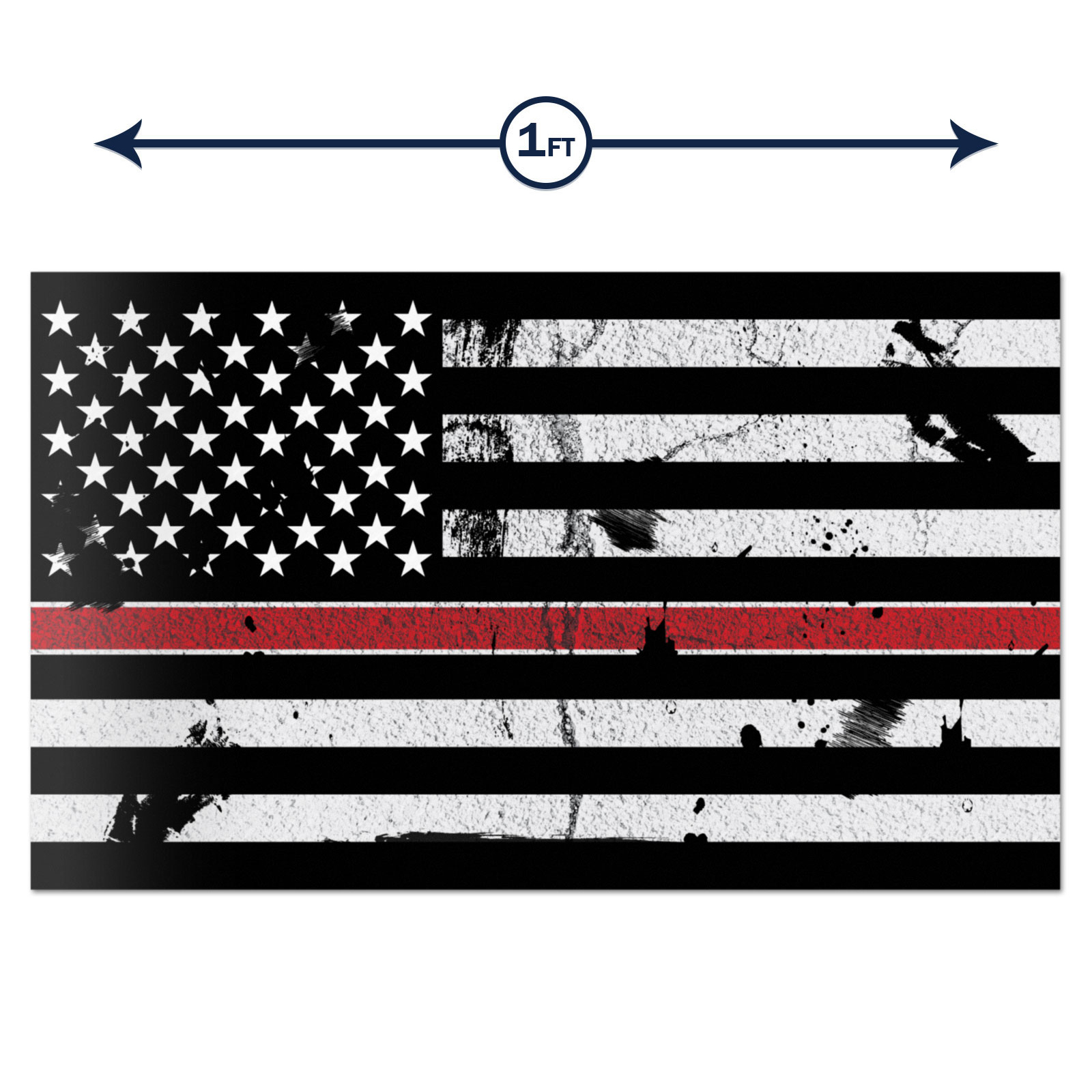 Thin Red Line Fire American Flag Distressed decal sticker 4 inch