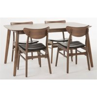 5-Pc Midcentury Rectangular Dining Set in Dark Brown