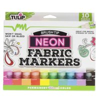 Tulip Neon Brush Tip Fabric Markers 10pk