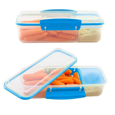 Sistema 2 Pack Meal Prep Containers Reusable BPA Free Lunch With Dividers For Sandwich Set